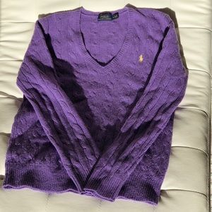 Ralph Lauren(S)Cashmere & Merino Wool Purple VNeck